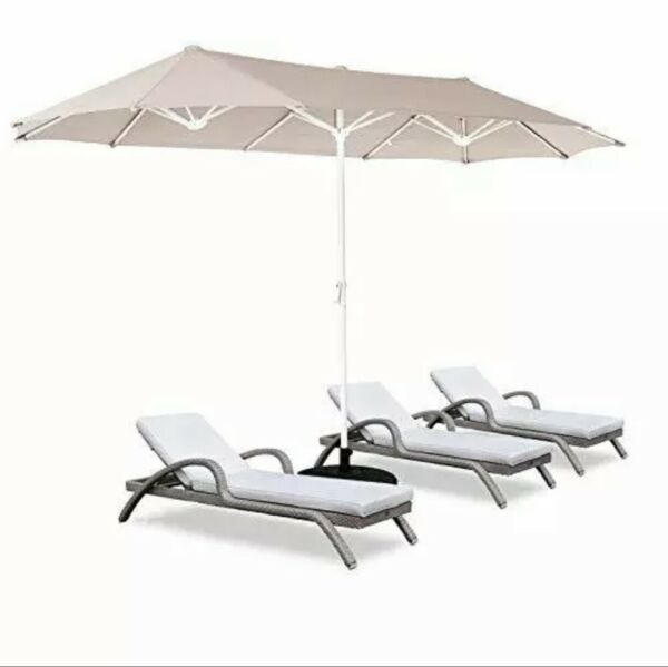 ROWHY 12ft Patio Umbrella Double Sided Outdoor Rectangular Market Umbrella Beige $249.99