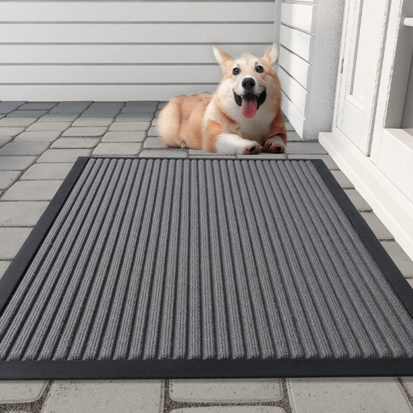 Outdoor Door Mat Heavy Duty Slide Proof Rubber Welcome Mats for Front Door Outd