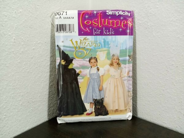 Simplicity Pattern 0671 Costumes for Kids Wizard of Oz Uncut $9.99