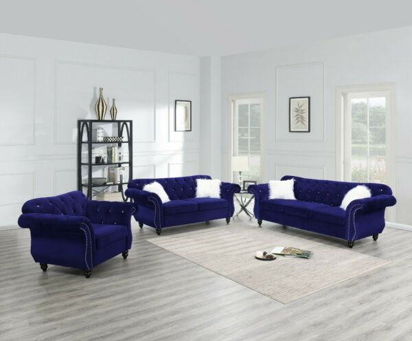 Living Room Furniture Sofa Set Indigo Tufted Sofa Loveseat Chair Velvet Fabric $1949.99