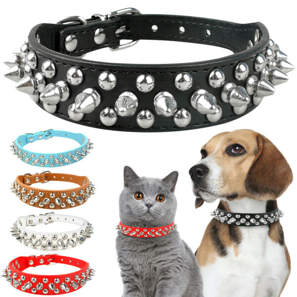 Small Puppy Pet Dog Cats Necklace Cool Rivet Studded PU Leather Collar Anti Bite $8.64