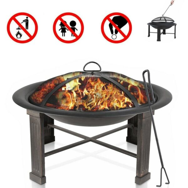 28quot; Outdoor Fire Pit Wood Burning Backyard Patio Bowl Fireplace Heater w Cover