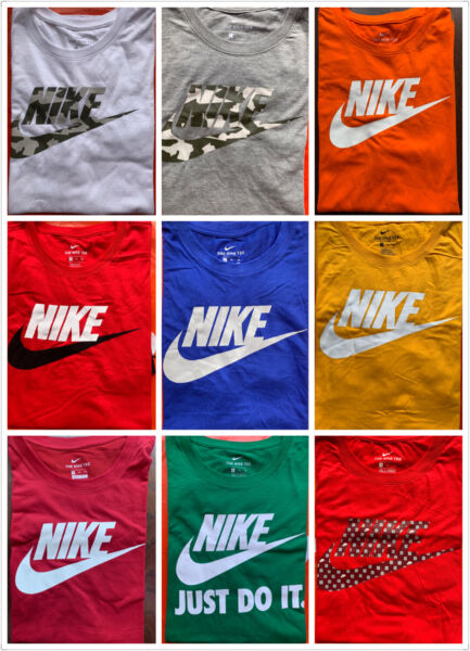 Men#x27;s NIKE T SHIRT S 4XL Graphic Swoosh Just Do It Logo Crew Athletic Fit Tee $22.95