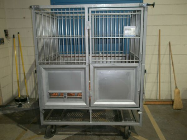 ALLENTOWN STAINLESS DOG KENNEL 59W X 47D X 73H VETERINARY LAB GRADE $1200.00