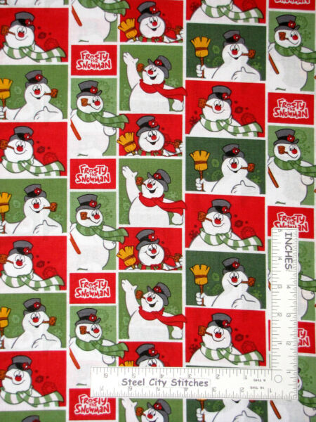 Christmas Frosty Snowman Licensed Snow Man Character Cotton Fabric Camelot Yard