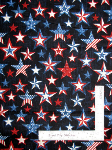 Patriotic Flag Stars Country Star Cotton Fabric Timeless Treasures C5279 By Yard $10.93