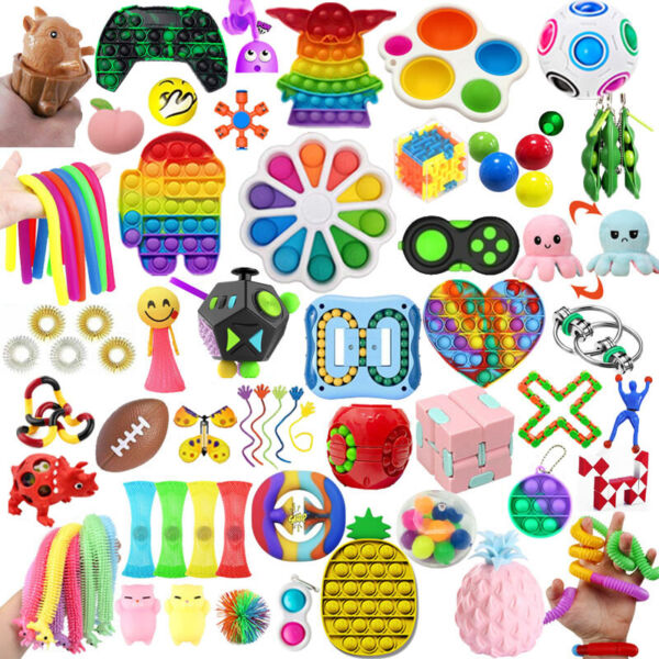 1 100 Pack Fidget Sensory Toys Set Stress Relief Anxiety Toy Kids Autism Relief