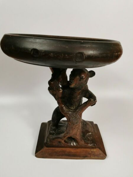 Antique Black Forest Swiss Brienz Carved Wood Bear centerpiece bowl 30 cm 2 in