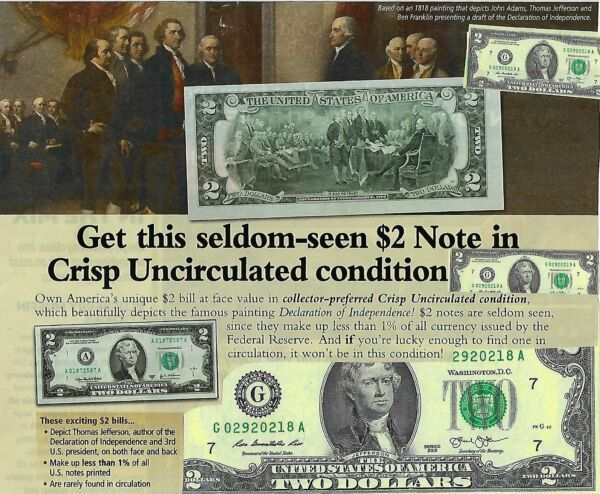 3 Two Dollar Bills Crisp New $2 Notes Uncirculated w Consecutive Numbers @COST