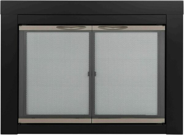 Pleasant Hearth Fireplace Door Alsip Large Clear Glass Bifold Double Panel Black