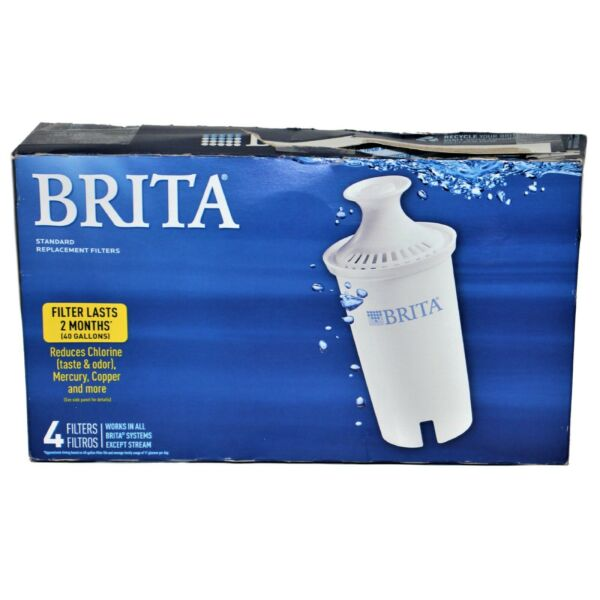Brita Water Filter Pitcher Standard Replacement Filters 4 Pack BPA Free