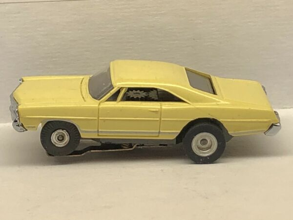 Aurora T Jet HO Scale Slot Car Yellow 67 Ford Galaxie XL500 With AJ's Slicks