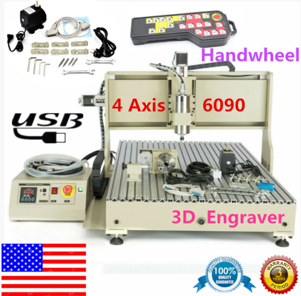 USB 4 Axis CNC 6090 Router 3D Engraver Metal Milling Engraving MachineHandweel $1967.00