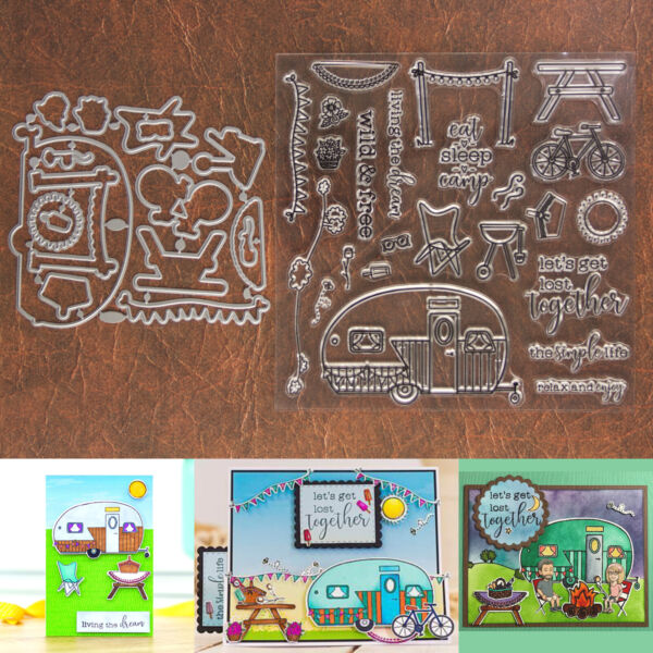 Eat Sleep Camp Cutting Dies amp; Stamps Set – RV Trailer Bike Picnic Grill amp; More $14.99