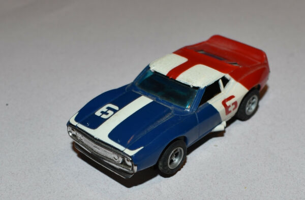 VINT 70#x27;s AURORA AFX A FX SLOT CAR AMC JAVELIN RED WHITE BLUE #6 Runs