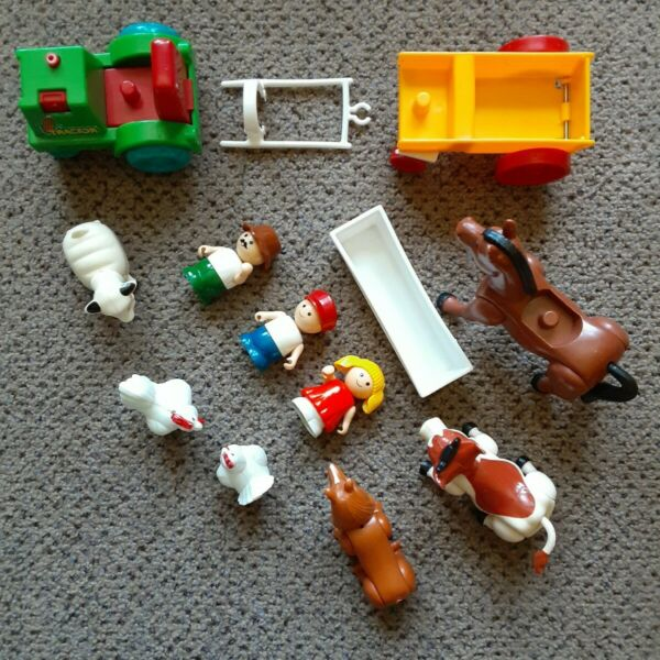 Vintage Li#x27;l Playmates Farm Set w Cow Sheep Horse Dog Tractor Hong Kong 1980s $18.00