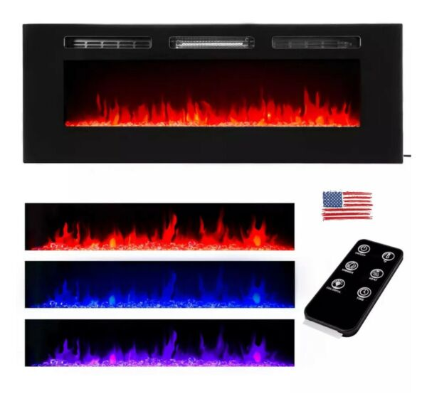 50quot; Electric Fireplace Recessed insert or Wall Mounted Standing Electric Heater $278.79