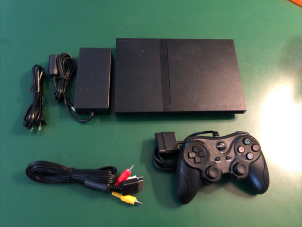 Complete Sony PlayStation 2 Slim PS2 System Black W Cont Hookups Works Perfectl $94.95