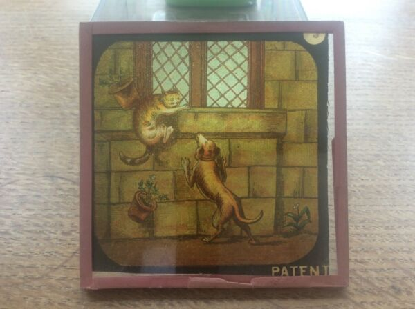 Antique Victorian Magic Lantern Glass Slide Dog chasing Cat Church Window Z GBP 7.99