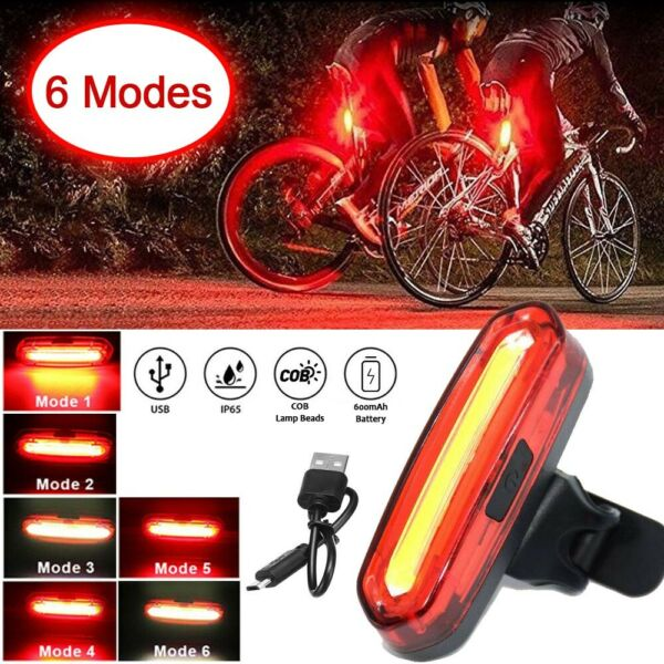 USB Rechargeable LED Bike Tail Light Bicycle Rear Cycling Night Warning Lamp $6.99