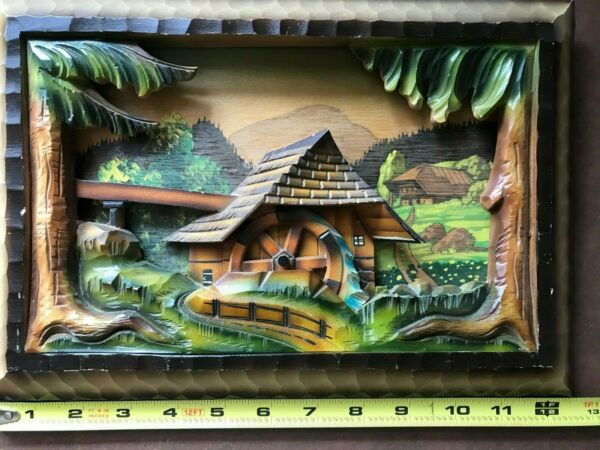 Vintage Forest Germany Hand Carved Wood Wooden Hanging Picture 3D RARE 1950#x27;s