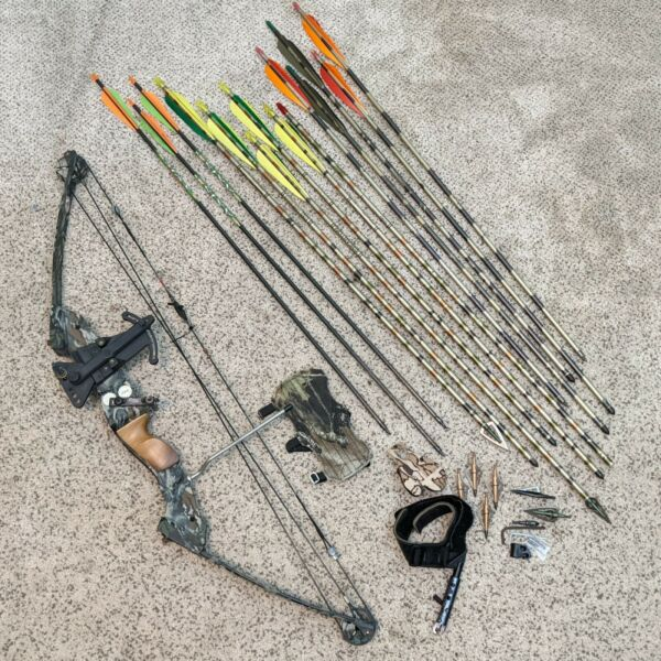 """PSE Bandit Youth Compound Bow 23"""" Draw 30lbs 26quot; Length w Easton Arrows $199.95"""
