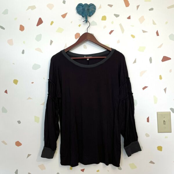 Gimmicks Buckle Large Black Balloon Sleeve Boat Wide Neck Knit Shirt Top Blouse $22.43