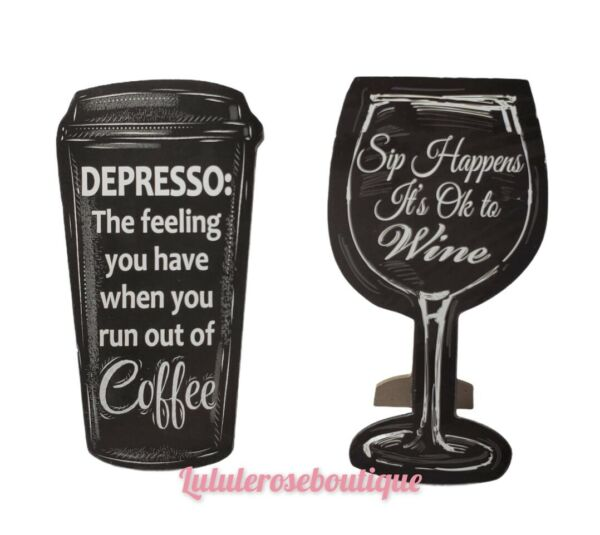 Funny Wood Shelf Desktop Home Office Decor Sign Coffee and wine Black color NEW