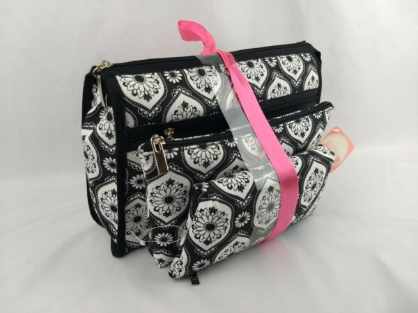 Stone Mountain Accessories 3 Piece Travel Zip Clutch Bags Purse Black and White $19.99