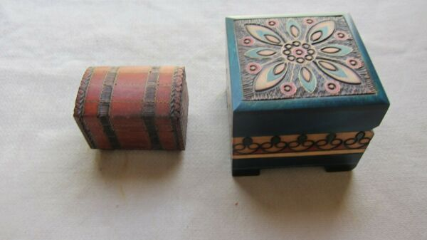 Lot of 2 Used Little Wooden Boxes Made in Poland VGC