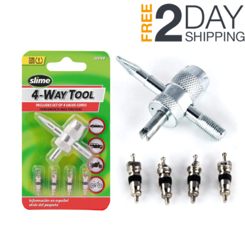 4 Way Car Bike Tire Valve Core Repair Tiny Remover Tool Bicycle Stem Cores Small $3.27