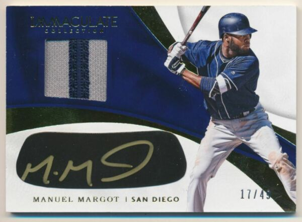 2017 Immaculate Coll Immaculate Carbon Material Signatures #23 Manuel Margot 49 $7.00
