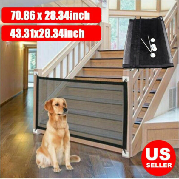 Baby Pets Dog Cat Safety Gate Home Kitchen Net Mesh Fence Portable Guard Indoor $9.61