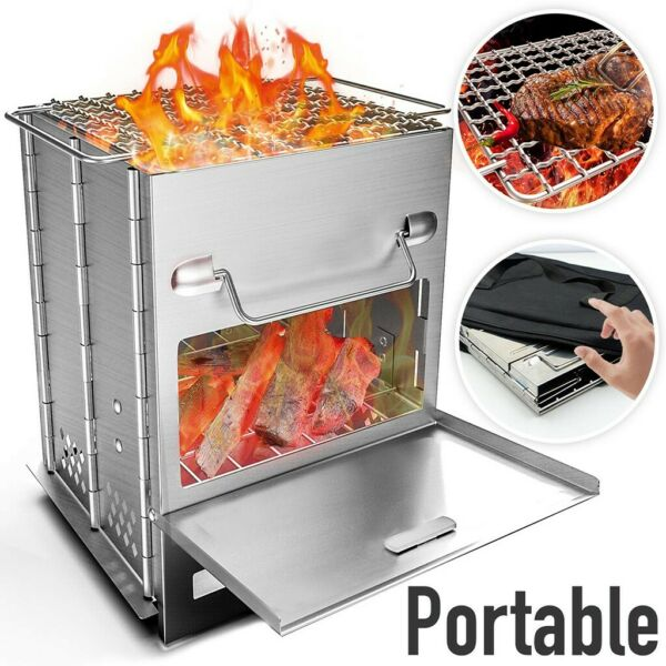 A Portable Wood Oven For Barbecue Can Be Folded Into A Box For Easy Carrying $34.85