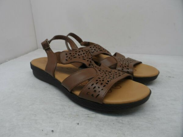 Easy Street Women#x27;s Slip On Bolt Casual Sandals 30 4764 Brown Size 9.5M $18.74