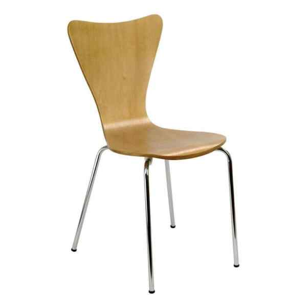 Legare Bent Plywood Natural Wood Stack Chair with Chrome Plated Metal Legs