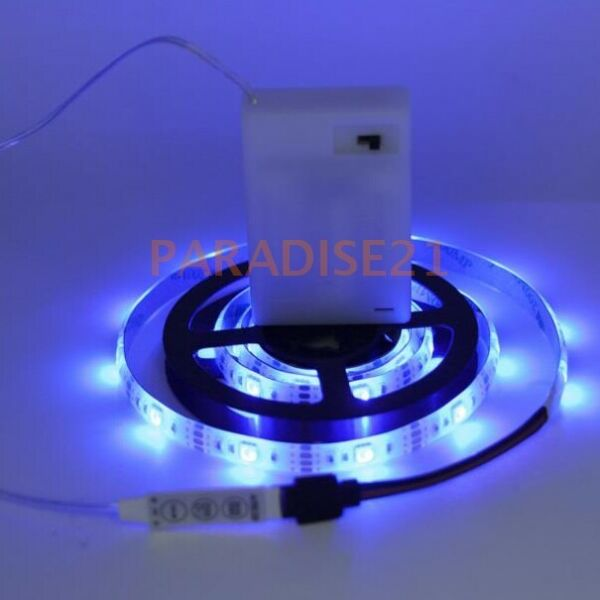 SMD5050 RGB Waterproof LED Flexible Strip Light Controll Battery Powered Outdoor