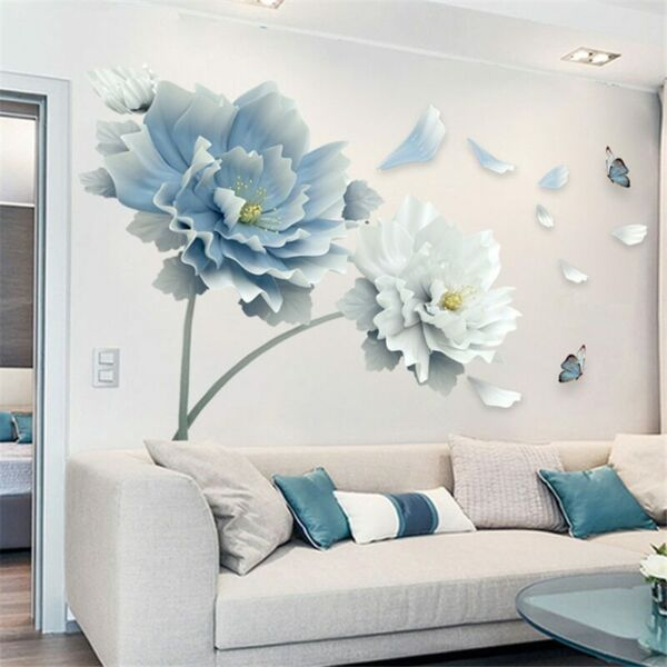 Removable Flower Lotus Butterfly Wall Stickers 3D Wall Art Decals Home Decor US $11.39