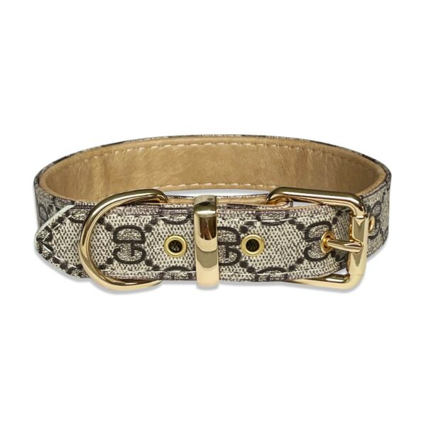 Luxury Leather Designer Gray GD Dog Collar In XS S M L XL Optional Leash $15.99