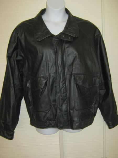 Outdoor Exchange Men#x27;s 2XL Soft Leather Jacket Quilted Bomber Black 60quot; Chest $38.99