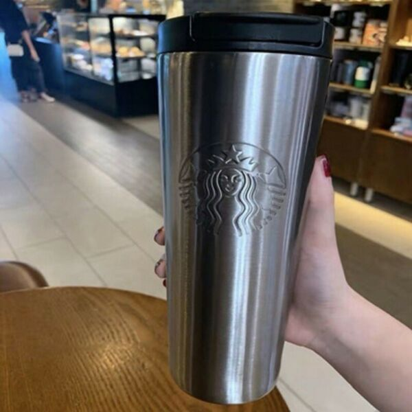 Starbucks Steel Tumbler Cold amp; Hot Cup W Lid 17oz Grande NWT Silver Double Wall