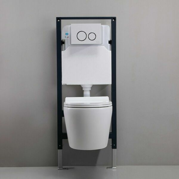 White Dual Flush Elongated Wall Hung Toilet Bedroom In Wall Tank Carrier System $532.99