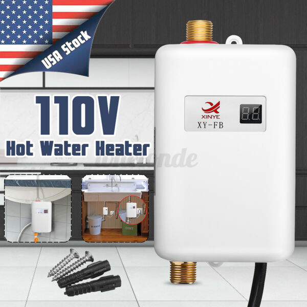 4000W Tankless Electric Instant Hot Water Heater Kitchen Bathroom Shower 110V US $65.90