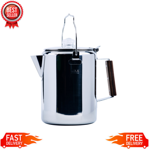 12 Cup Percolator Stainless Steel Coffee Pot Camping Fire Pit RV Travel NEW