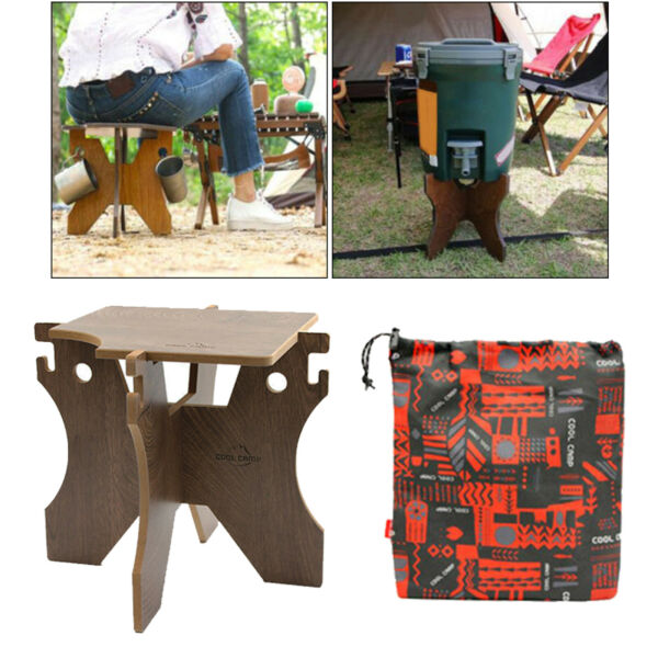 Camping Water Bucket Stand Wooden Bottles Holder BBQ Grill Folding Stool