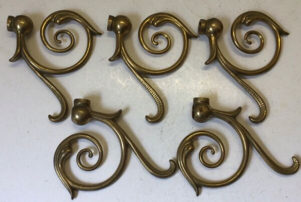 Set of 5 solid cast brass ornate gas light arms electric wall sconce parts steam $20.00