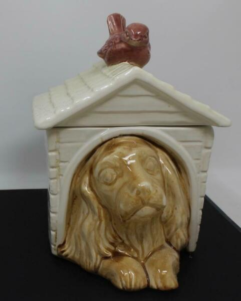 Vintage McCoy Dog in Doghouse with Red Bird on Roof Cookie Jar $149.99