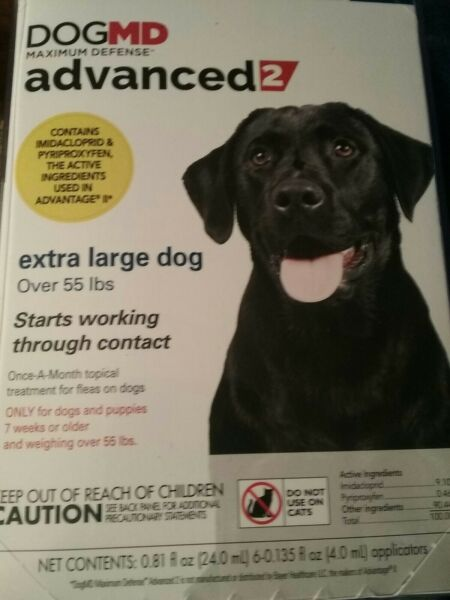 DOGMD advanced2 Ex Large Dog Flea Treatment. 6 Month Over 55lbs. $18.99