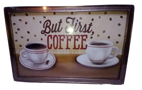 quot;But First COFFEEquot; home Kitchen Design Wall Art 11.5quot;× 7 3 4quot; Framed New...