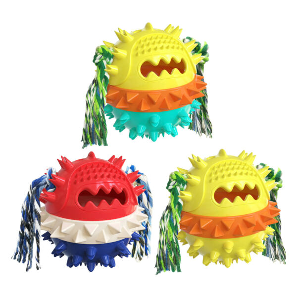 Interactive Pet Dog Tough Chew Toys Molar Ball with Rope Teeth Cleaning $13.31